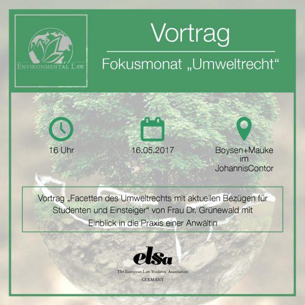 Besuche unseren Vortrag zum Umweltrecht!